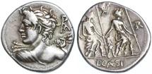 Ancient Coins - Lucius Caesius AR Denarius, GVF, 112/111 B.C.E.