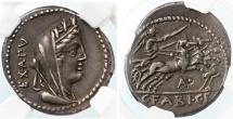 Ancient Coins - C. Fabius C.f. Hadrianus AR Denarius, NGC XF Star, 5/5, 5/5, 102 B.C.E.