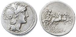 Ancient Coins - C. Claudius Pulcher AR Republic Denarius, Very Fine, 110/109 B.C.E.