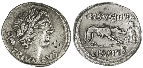 Ancient Coins - L. Papius Celsus AR Denarius, RARE, see notes, VF+/VF, 45 B.C.E.