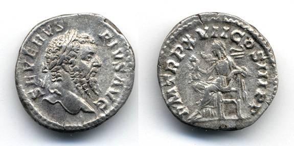 Ancient Coins - Septimius Severus AR Denarius, VF+, 193 - 211 C.E.