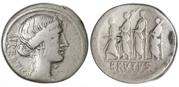 """Ancient Coins - Junius Brutus (& Q. Capeio) AR Denarius, AVF/GF, 54 B.C.E. """"Et tu, Brute"""""""