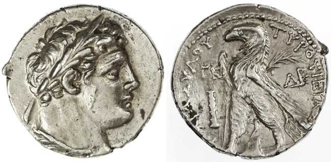 "Ancient Coins - Shekel of Tyre, Near Extremely Fine, ""30 Pieces of Silver type"", 104/103 B.C.E."