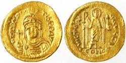 Ancient Coins - Maurice Tiberius AV Gold Solidus, VF/AEF, 583 - 601 C.E.