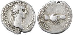 Ancient Coins - Nerva AR Denarius, Very Fine, 97 C.E.
