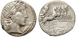 Ancient Coins - C. Vibius C. f. Pansa AR Denarius, GVF, 90 B.C.E.