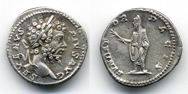 """Ancient Coins - Septimius Severus Denarius, EF, """"FVNDATOR PACIS"""""""