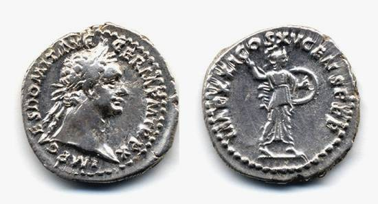 Ancient Coins - Domitian AR Denarius, VF/VF+, 20mm