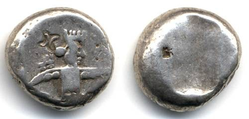 Ancient Coins - Siglos, Lydia Persia, 450-330 B.C.E. with interesting Countermarks