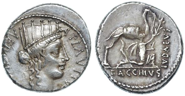 "Ancient Coins - A. Plautius AR Denarius, First Judea Capta theme coin, ""BACCHIVS IVDAEVS"", 55 B.C.E."