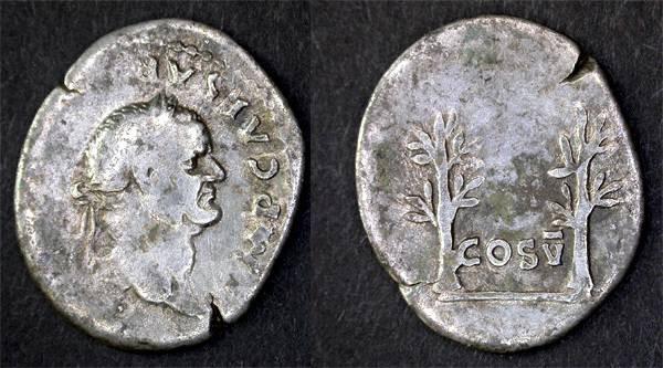 Ancient Coins - Vespasian, SCARCE AR Denarius, F+