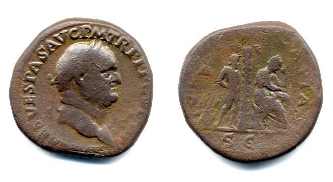 "Ancient Coins - Vespasian ""Judaea Capta"" Sestertius, Rare"
