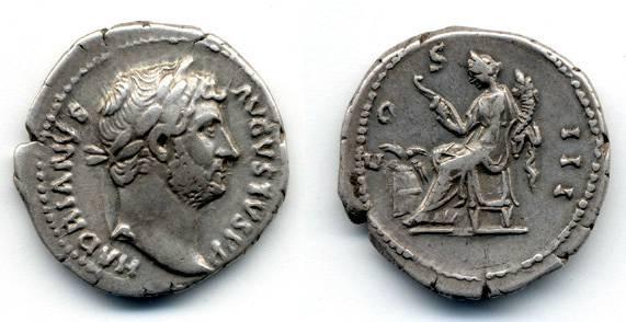 Ancient Coins - Hadrian AR Denarius, VF, Annona holding hook and cornucopia