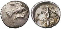 Ancient Coins - Elis, Olympia AR Drachm, Extremely Fine, 244 - 208 B.C.E.