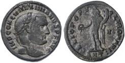 "Ancient Coins - Galerius AE Silvered Follis, ""Genio"", Circa. 306 C.E."