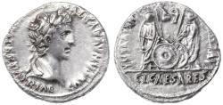 """Ancient Coins - Augustus AR Denarius,   """"Caius and Lucius Caesars"""", Extremely Fine, 2 B.C.E. - 4 C.E."""