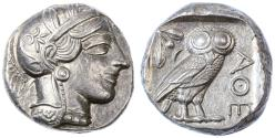 Ancient Coins - Attica, Athens AR Tetradrachm, Choice Extremely Fine, Lightly toned, 454 - 404 B.C.E.