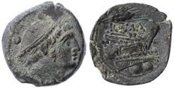 Ancient Coins - Rome Republic AE Sextans, VF+/EF, 214 - 212 B.C.E.