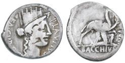 "Ancient Coins - A. Plautius AR Denarius, First Judea Capta coin, ""BACCHIVS IVDAEVS"", Fine, 55 B.C.E."