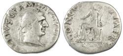 Ancient Coins - Vitellius AR Denarius, Fine, 69 C.E.