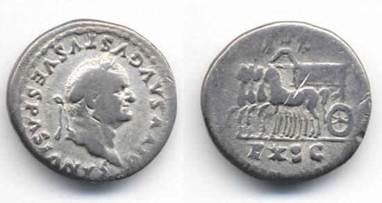 Ancient Coins - Vespasian Postumous Denarius by Titus commemorating their triumph over Judaea, Scarce