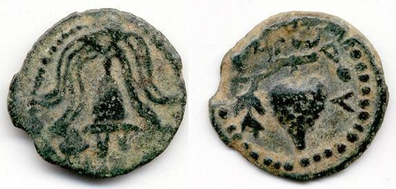 Ancient Coins - Herod Archelaus VF Grapes Prutah