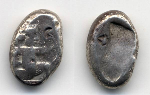 Ancient Coins - Siglos of Persia, Lydia with COUNTERMARK 450 - 330 B.C.E.