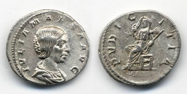 Ancient Coins - Julia Maesa AR Denarius, VF/VF+