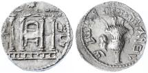 "Ancient Coins - Shimon Bar Kokhba AR Sela, ""Jerusalem Temple"", Near EF, Exemplary Roman inscription and portrait, 134/135 C.E."