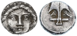 Ancient Coins - Apollonia Pontika, Thrace AR Diobol, Extremely Fine, 4th Century B.C.E.