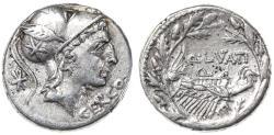 Ancient Coins - Q. Lutatius Cerco AR Denarius, GVF, 109/108 B.C.E.