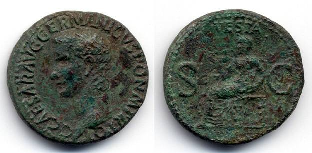 Ancient Coins - Caligula AS Vesta, AEF/VF, Stunning portrait
