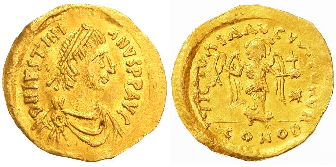 Ancient Coins - Justinian I AV Gold Tremissis, EF/AEF, 527-565 C.E.