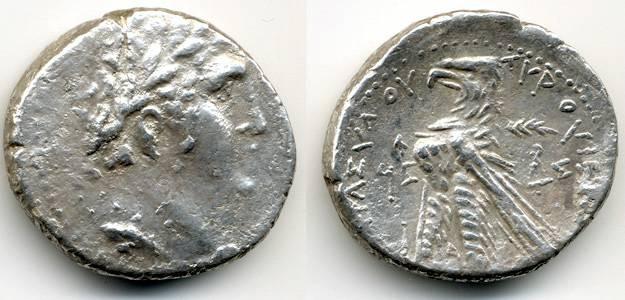 Ancient Coins - Shekel of Tyre, 31/30 B.C.E., AVF/VF+
