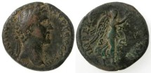 Ancient Coins - Antoninus Pius AE AS, Imperator II with Victory, AVF, 143/144 C.E.