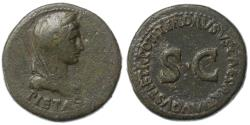 Ancient Coins - Livia and Drusus Minor AE Dupondius, Fine, Complete inscription, 22/23 C.E.