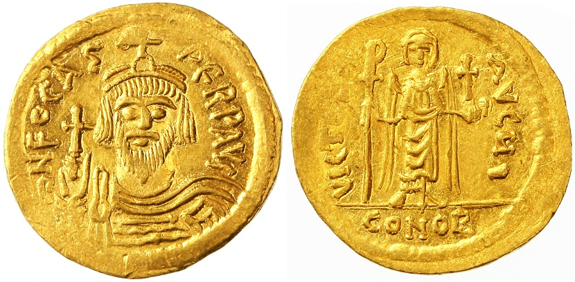 Ancient Coins - Phocas AV Gold Solidus, Lustrous Extremely Fine, 607 - 609 C.E.