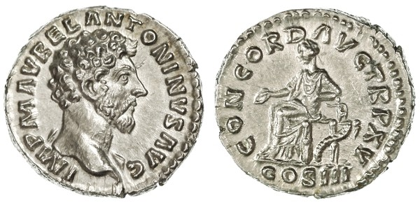 Ancient Coins - Marcus Aurelius AR Denarius, SUPERB Centered Extremely Fine, from the beginning of his reign 161 C.E.