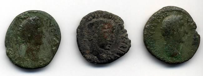 Ancient Coins - Lot of Three Imperial AE, Augustus? and Antoninus Pius, GREAT value
