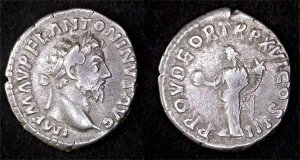 """Ancient Coins - Marcus Aurelius AR Denarius, VF, Centered, """"Providentia"""""""