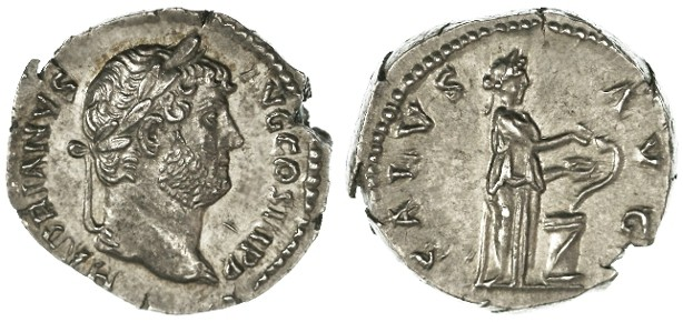 Ancient Coins - Hadrian AR Denarius, Choice EF, 134 - 138 C.E.