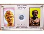 Ancient Coins - Faustina AR Denarius, Lustrous Extremely Fine in display holder, see COIN in additional photos, 141 - 161 C.E.