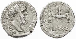 Ancient Coins - Septimius Severus Legionary AR Denarius, Very Fine, 193/194 C.E.