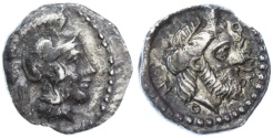 Ancient Coins - Cilicia, Holmoi AR Obol, EXTREMELY RARE - see notes, AEF, 4th Century B.C.E.