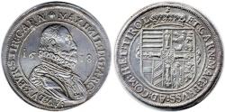 World Coins - Erzherzog Maximilian 1590-1618 Taler, Near EF, Lovely patina, 1618