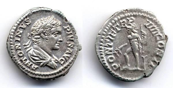 Ancient Coins - Caracalla AR Denarius, EF/VF, PONTIF TRP VIII, 205 C.E.