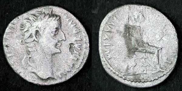 """Ancient Coins - Tiberius AR Denarius, """"Tribute Penny"""", VF/F"""