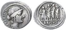 Ancient Coins - M. Junius Brutus (Q. Servilius Caepio) AR Denarius, Toned AVF, 54 B.C.E.