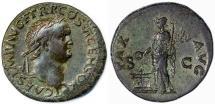 Ancient Coins - Titus as Caesar AE Dupondius, Near Extremely Fine, Lugdunum mint, 77/78 C.E.