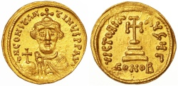 Ancient Coins - Constans II AV Gold Solidus, Near Mint State, Beardless type, 641 - 646 C.E.